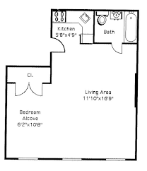 A typical floor plan for a studio apartment.