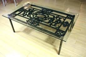 wrought iron coffee table glass