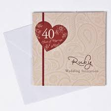 card invitation 40th ruby anniversary invitation cards pack of 10 only 1 49