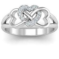 infinity mothers ring. sterling silver triple heart infinity ring with fancy blue swarovski zirconia stones mothers
