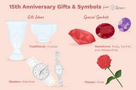 ilration of 15th anniversary gifts and symbols