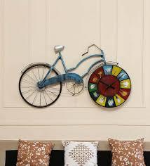metal cycle clock in copper wall art