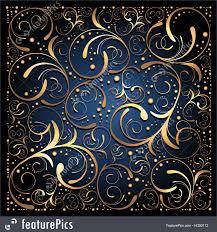 Blue And Gold Design Gold On Blue Floral Background