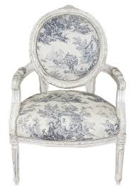 Casa Padrino Barock Medaillon Salon Stuhl Weiß Blau