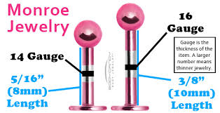Lip Piercing Gauge Size Chart Quick Take Monroe Jewelry Sizing And Styles Bodycandy