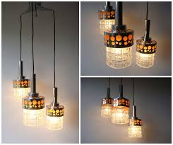 vintage hanging lamp with 3 pendants glass and chrome