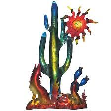 southwestern wall art southwest desert metal wall art cactus sun and coyote southwestern framed wall art