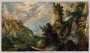 a mountainous landscape with a waterfall kerstiaen de keuninck