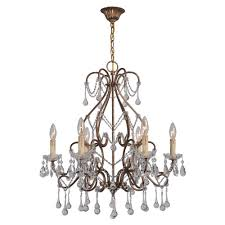 grace collection 6 light antique gold indoor chandelier