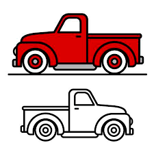 truck drawing outline. Brilliant Outline Two Cartoon Vintage Pickup Truck Outline Drawings One Red And Black  Throughout Truck Drawing Outline C