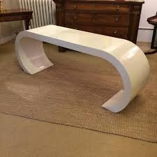 Modern white console table Entrance Glamorous Console Table In Classic Midcentury Modern Karl Springer Style Waterfall Shape 1stdibs Sleek Midcentury Modern White Lacquer Waterfall Console Table At