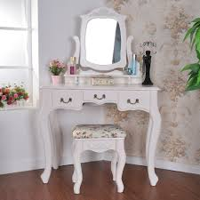 Kids Bedroom Vanity Antique Carved White Wooden Vanity Dressing Table With Trifold