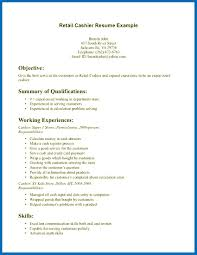 Resume Sample Qualifications Objective For Resume Retail Cashier Example Summary Of 58
