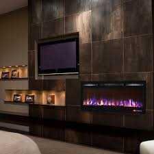 ay 36 inch crystal recessed touch screen multi color wall mounted electric fireplace