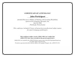 Samples Of Certificates Of Participation Sample Certificate Of Attendance Template Templat Conference