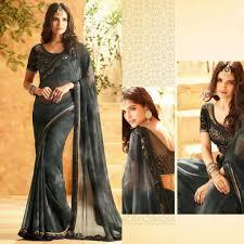 Kalaniketan Designer Sarees Gorgeous Embroidery And Design Work Black Saree From