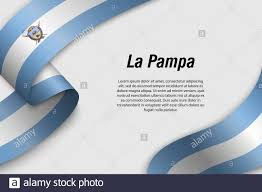 Argentina Banner Design Waving Ribbon Or Banner With Flag Of La Pampa Province Of