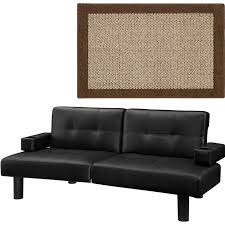 mainstays connectrix faux leather futon multiple colors with mainstays faux sisal area rugs or runner bundle com