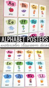 Free Alphabet Posters Watercolor Classroom Decor Education
