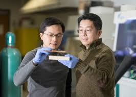 umd professors liangbing hu and teng li each holding a block of wood