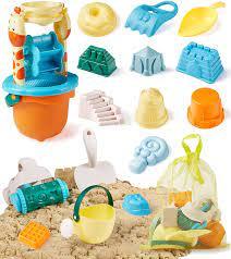 Amazon.com: Geyiie Kids Beach Sand Toys Set, 16Pcs Sand Castle Toys with  Giraffe Waterwheel, Beach Buggy, Sand Molds, Beach Bucket, Shovel Rake Tool  Kit and a Storage Bag, Sand Toys for Toddlers
