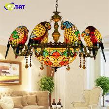 art glass lighting fixtures. FUMAT Stained Glass Pendant Lamp Luxury Crystal Art Birds Lights Living Room Lamps Parrot Lighting Fixtures E
