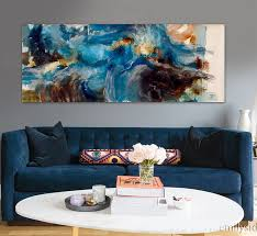 cheap office wall art. Find More Painting \u0026 Calligraphy Information About Modern Abstract Brown Hand Painted Blue Watercolor Original Home Decor Office Wall Art Canvas Cheap N