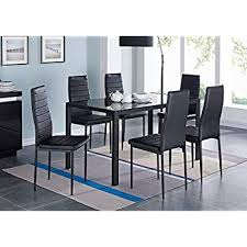 ids 7 pieces modern gl dining table set faxu leather with 6 chairs black
