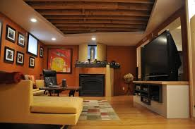 Decorations  Light Green Painted Basement Interior With Exposed - Painted basement ceiling ideas