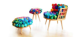 recycled furniture design. Bright And Eco Friendly Furniture Design Idea Recycling Silk For Colorful Seats Recycled
