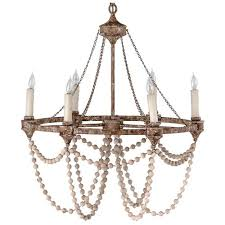 auvergne french country rustic iron white bead chandelier kathy kuo home