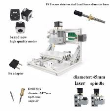 mini 3 axis diy cnc mill 1610 router kit engraver milling machine 5500mw laser