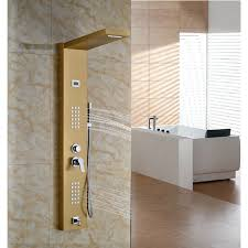 golden bathroom shower column faucet wall: gold finish wall mount shower panel with hand held shower head and faucet