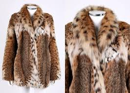genuine bobcat spotted fur stroller coat large statement collar long sleeve two exterior