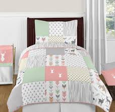c mint and grey woodsy deer 4pc twin girl bedding set by sweet jojo designs only 99 99