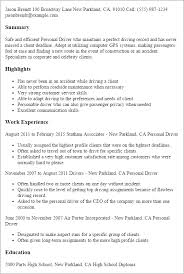 Personal Driver Resume Template Best Design Tips Myperfectresume