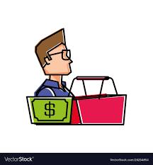 Man Basket Design Pdf Young Man With Basket Shopping And Bill Dollar