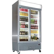 sliding 2 glass door commercial upright bar fridge
