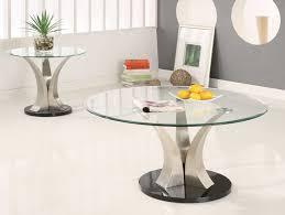 round glass coffee table chrome