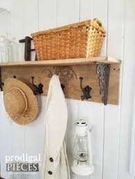 Reclaimed Wood Coat Rack Shelf Industrial Chic Coat Rack Modern industrial Coat racks and DIY ideas 57