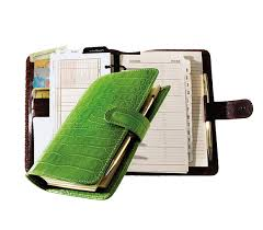 green crocodile grained cowhide 6 ring organizer