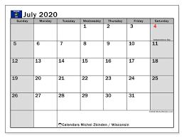 Printable Monthly Calendar July 2020 July 2020 Calendar Wisconsin Usa Michel Zbinden En