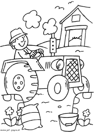 Kleurplaat De Boer Op De Tractor Preschool Farm Farm Coloring