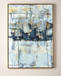 blue thoughts gold leaf watercolor wall art