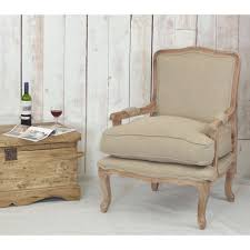 french style occasional chair with rustic finish mango wood and linen upholstered cushion loading zoom