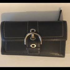 Coach Campbell Leather Buckle Wallet Clutch