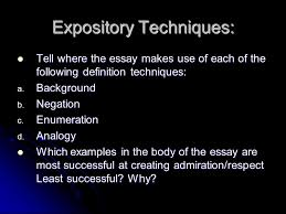 definition expository pattern simple definitions simple  expository techniques tell where the essay makes use of each of the following definition techniques