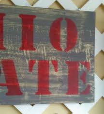 show your love for osu hand painted wood sign in gray and red with ohio state stenciled on the wood shabby ohio state sign in a farmhouse style is great