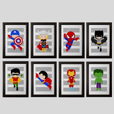 Superhero Bedroom Decorations Superhero Bedroom Wall Decor Prints Gray Stripes Or Any