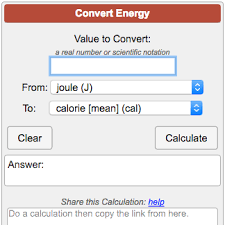 Calorie Conversion Chart Energy Conversion Calculator